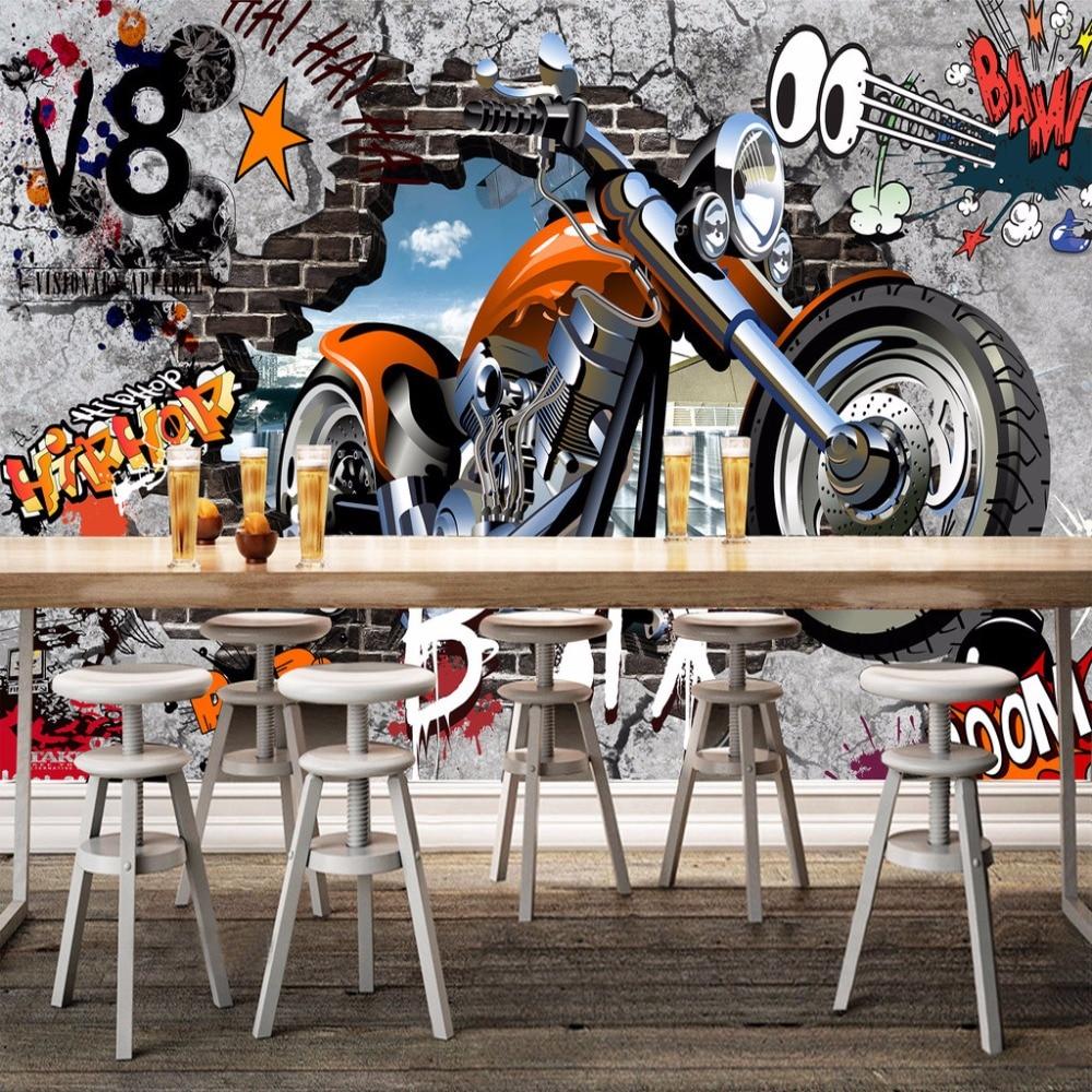 Graffiti art wallpaper for walls - Aliexpress Com Buy High Quality Custom Wall Murals Wallpaper Motorcycle Street Art Graffiti Mural Wall Decorations Living Room Modern Wall Painting From
