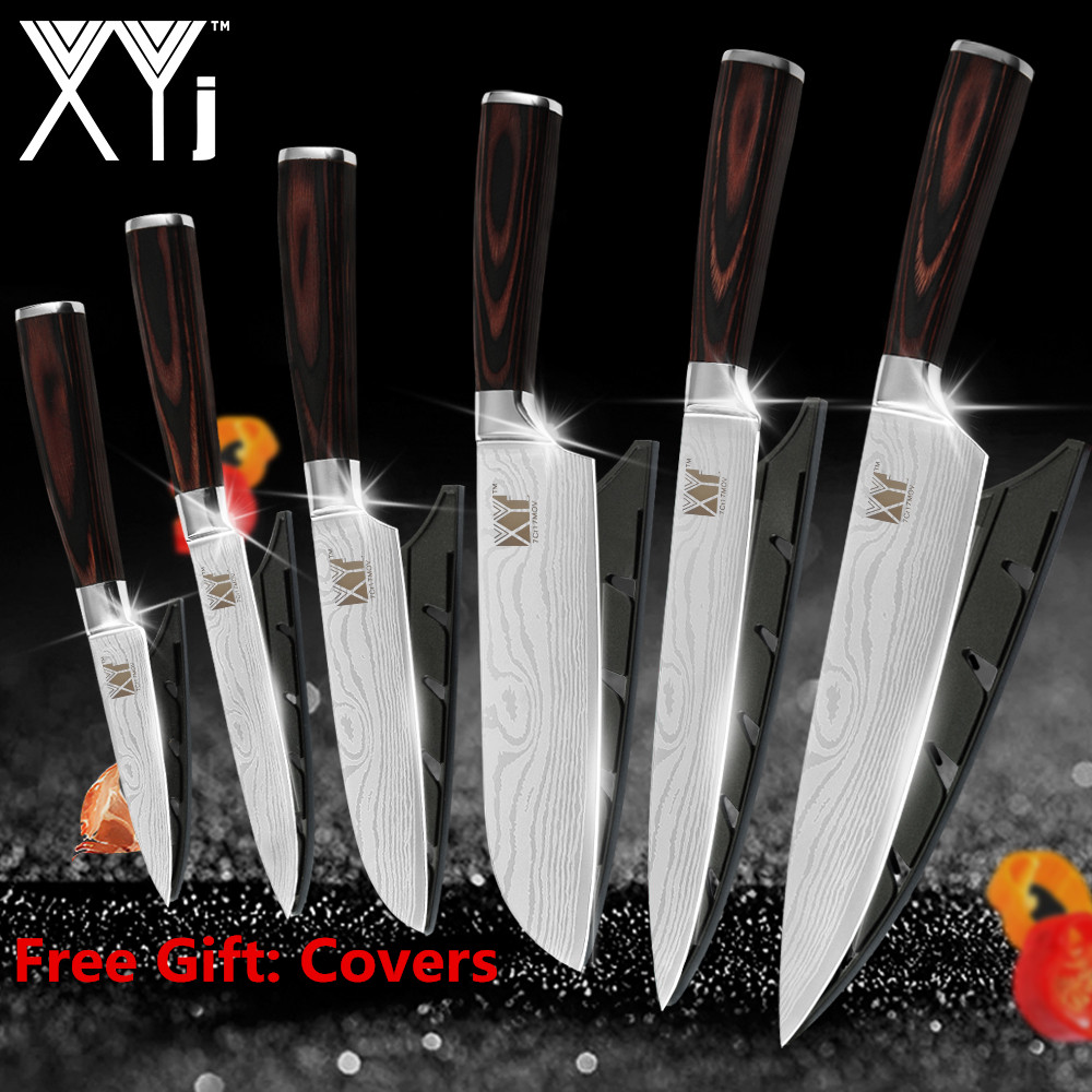 XYj Kitchen Knives Stainless Steel 2019 Color Wood Handle