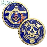 Wholesale 50/100pcs Masonic Freemason Challenge Coin Fraternal Order Freemasons Mason coin gift Gold Plated Commemorative Coin