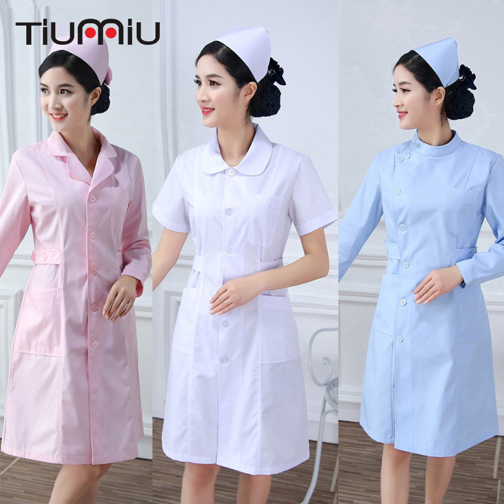 2018 High Quality Nurse Uniform Summer Winter Hospital Medical Beauty Salon Scrub Tops Surgical Scrub Medical Uniforms Long Coat