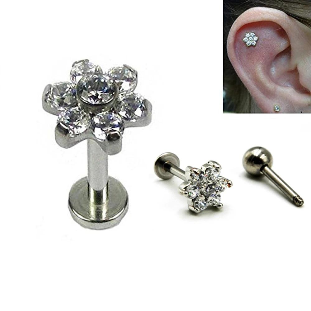 1 Pair Ear Stud Ring 16G CZ Ear Tragus Labret Lip Pin Ring Body Piercing Jewelry