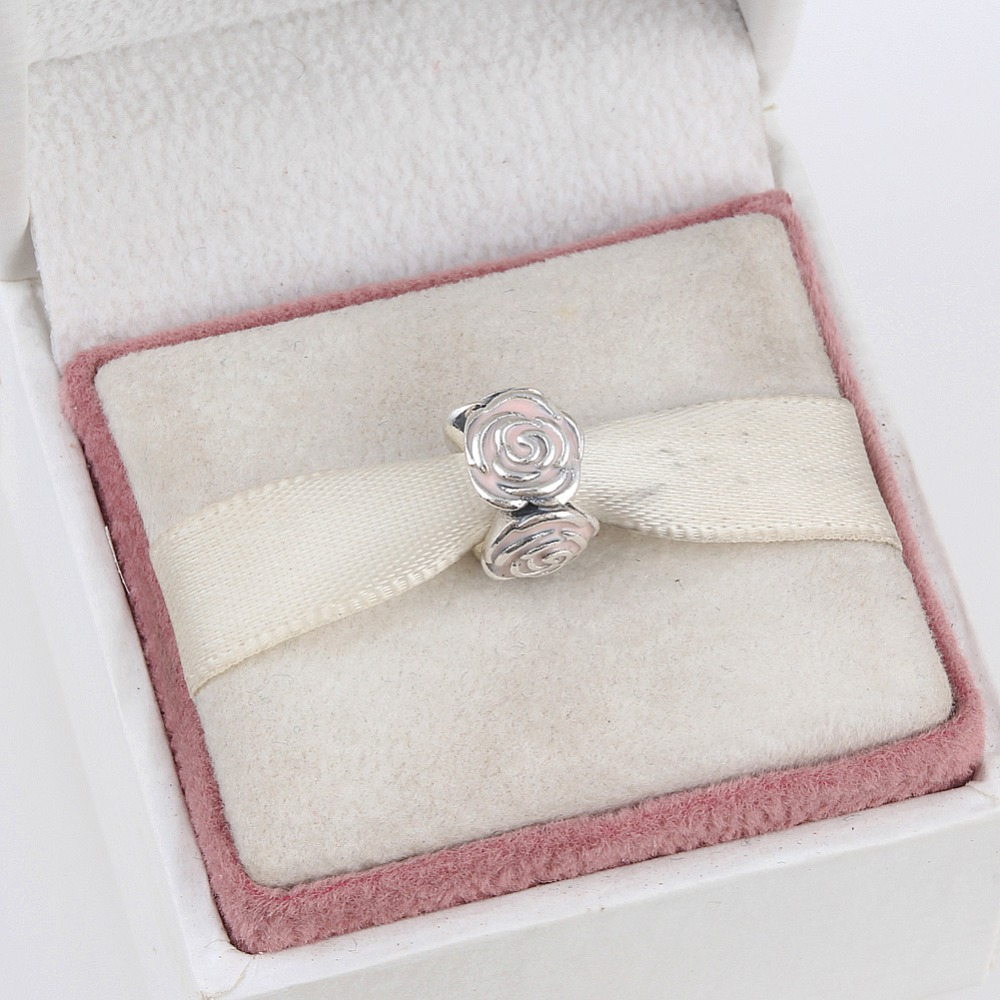 Zmzy Бусины подходит Pandora Браслеты Роза 100% 925 серебро Бусины с розовой эмалью Новый Талисманы DIY ювелирные изделия оптом
