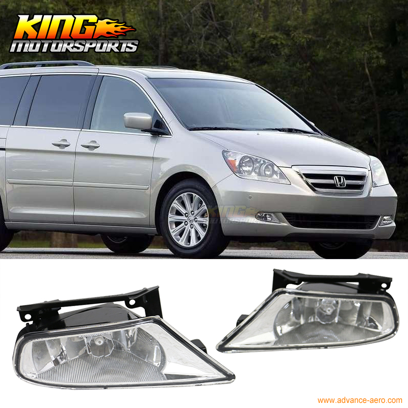 Fit For 05-07 Honda Odyssey Front Fog Lamp Fog Light Pair LH RH Clear Lens Wiring Kit fit for 15 17 gmc yukon denali front fog light lamp chrome bezel lh rh h3 12v 20w clear lens
