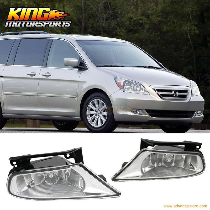 Fit For 05 07 Honda Odyssey Front Fog Lamp Fog Light Pair LH RH Clear Lens Wiring Kit