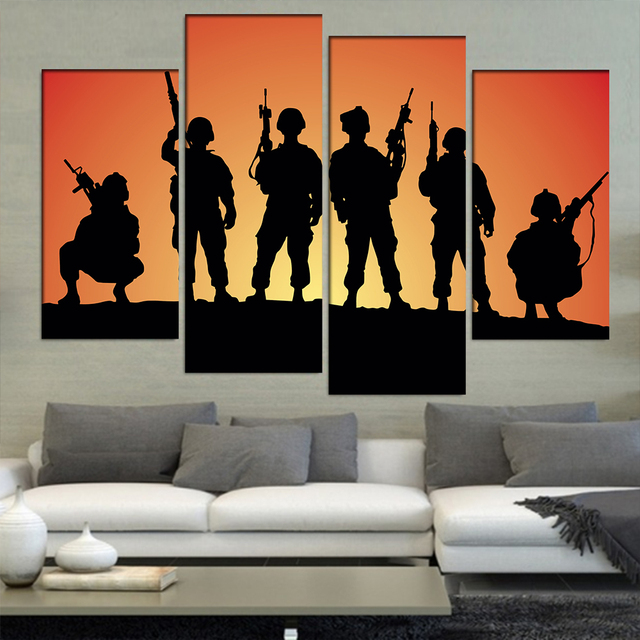 4 Unids/set Figuras de Soldados Militares Siluetas de Paisaje ...