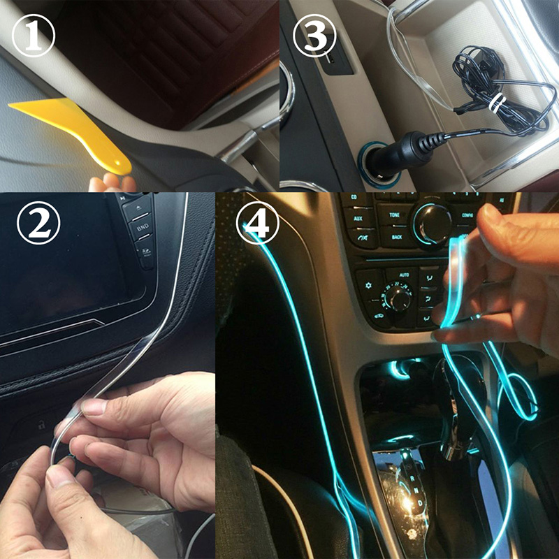 Atmosphere Lamp Light 8 colors For Car Interior Ambient Light 1 W LED For Optical Fiber Bright for chrysler pt cruiser 2000 2012 car interior ambient light panel illumination for car inside cool strip light optic fiber band
