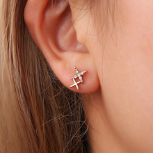 Trendy Zinc Alloy Silver Gold Color Crystal Rhinestone Cross Stud Earrings for Women