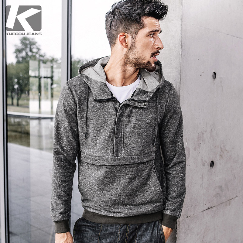 KUEGOU New Autumn Mens Fashion Hoodies Patchwork coffee color Brand Clothing Mans Slim Hooded Pullover Male Wear Tracksuit 3819