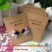 100Pcs/ Lot 6.5*5cm Kraft Paper Ear Studs Hang Tag Jewelry Display Card Earring Kraft Paper Card Bracelet Card Necklace Card