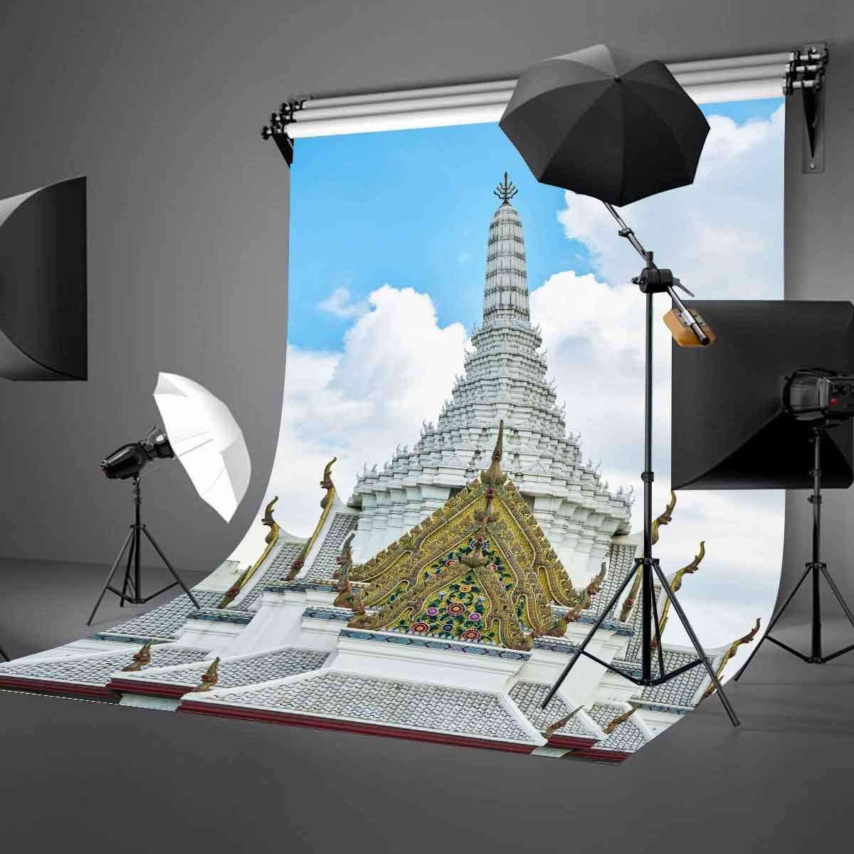 150x220cm Temple of God in Bangkok Thailand Backdrop White Clouds Temples Golden Overhang Photography Background in Photo Studio Accessories from Consumer Electronics