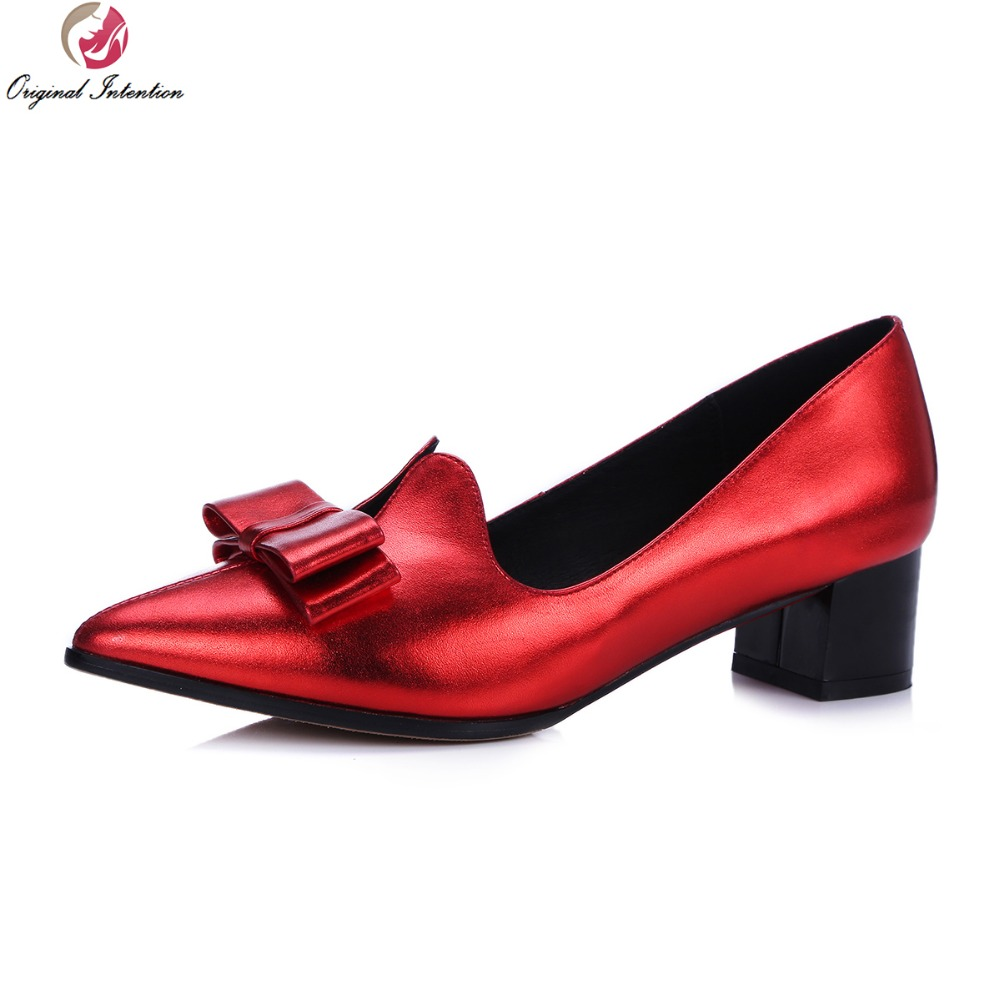 ФОТО Original Intention Super Elegant Women Pumps Genuine Leather Pointed Toe Square Heels Pumps Red Grey Shoes Woman Plus Size 4-10