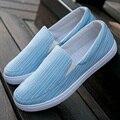 Мужчины Повседневная Полосатый Холст Обувь Весна Мокасины Мода Zapato Дышащие Slipony Квартиры Обувь Для Ходьбы
