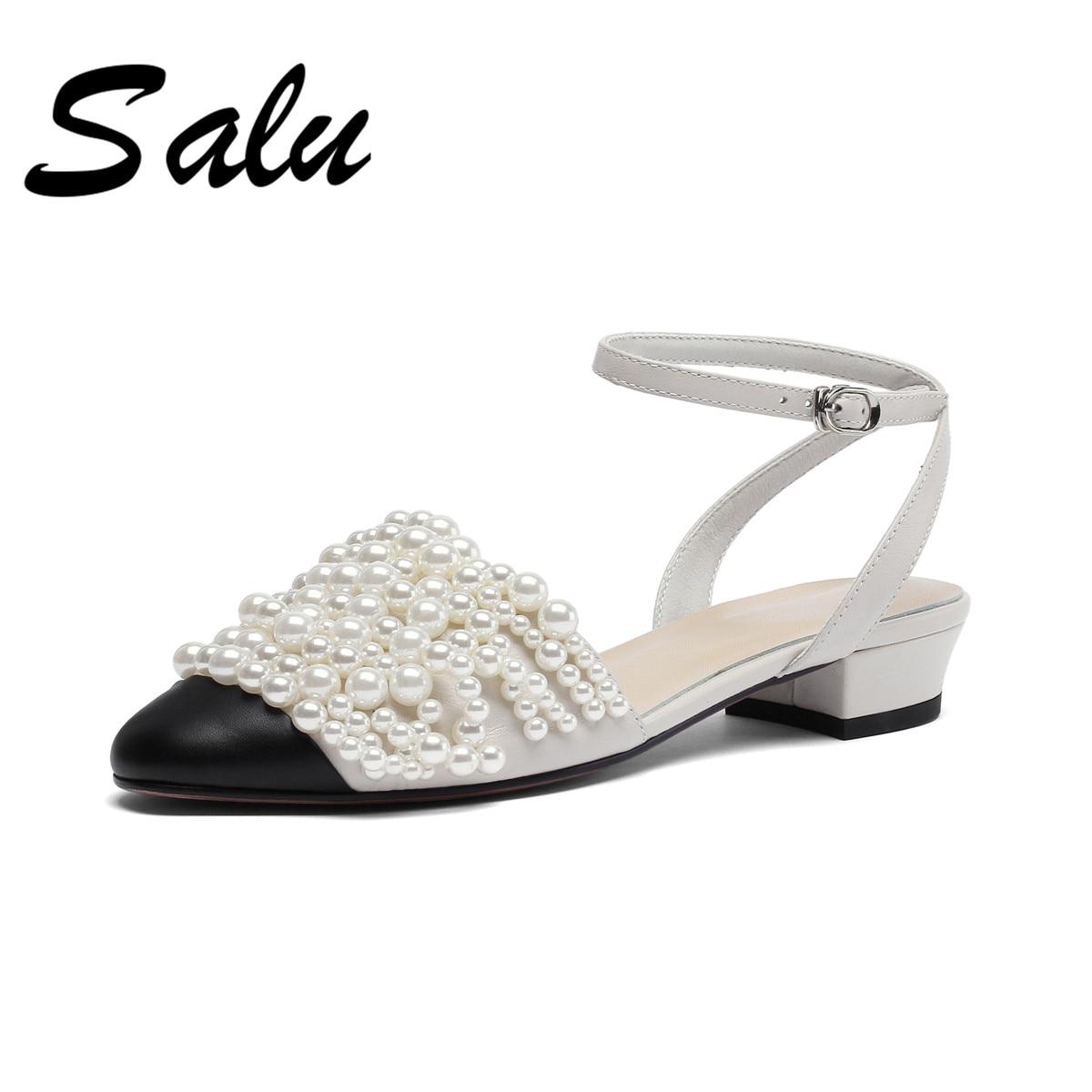 Salu 2019 d'été en cuir Véritable sandales femmes talons hauts chaussures pour femme perle d'été mules parti de bal femmes pompes-in Sandales femme from Chaussures    1