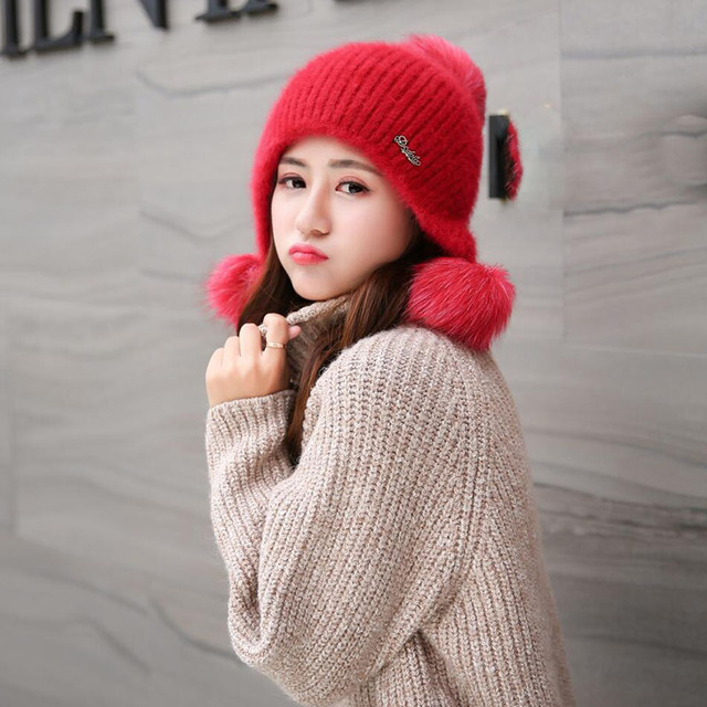 Pompchapeaux dhiver en fourrure pour femmes | Pompon, bonnet de voiture tricoté, mignon et épais en coton, bonnet 2017 pour adultes