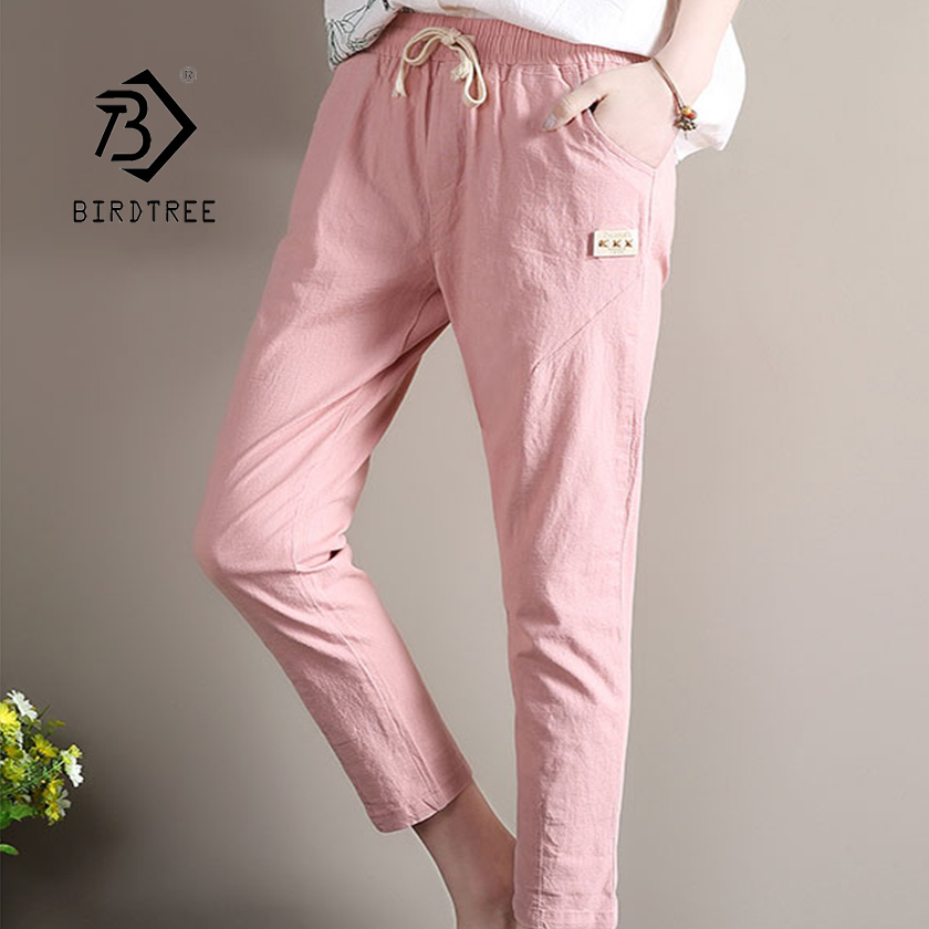 Pants & Capris Bottoms Lower Price with 2019 New Fashion Summer Cotton Linen Pocket Wide Leg Loose Harem Pants Elastic Waist Nine Casual Thin Btton Hot B94101h Bright Luster