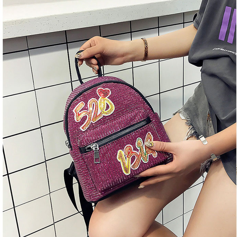 Fashion 2018 Sequins PU Leather Women Backpack Children Back Pack Small Backpacks For Girls Ladies Shoulder Bags Bling
