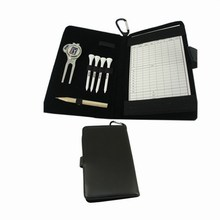 Купить с кэшбэком Genuine Leather Bookpad for Golf Accessories with 4pcs Tee 1pc Divot Tool and penci Mark Notebook for Golf Club OfficeStationery