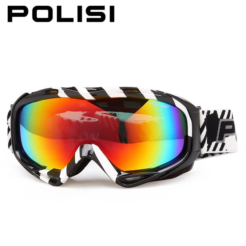 ФОТО POLISI Professional Ski Snowboard Snow Goggles Double Layer Anti-Fog Lens Skiing Eyewear Polarized Snowmobile Skate Glasses