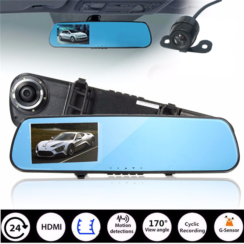 4 3 inch Full HD 1080P Car Mirror DVR Dual Lens Front And Back Camera For