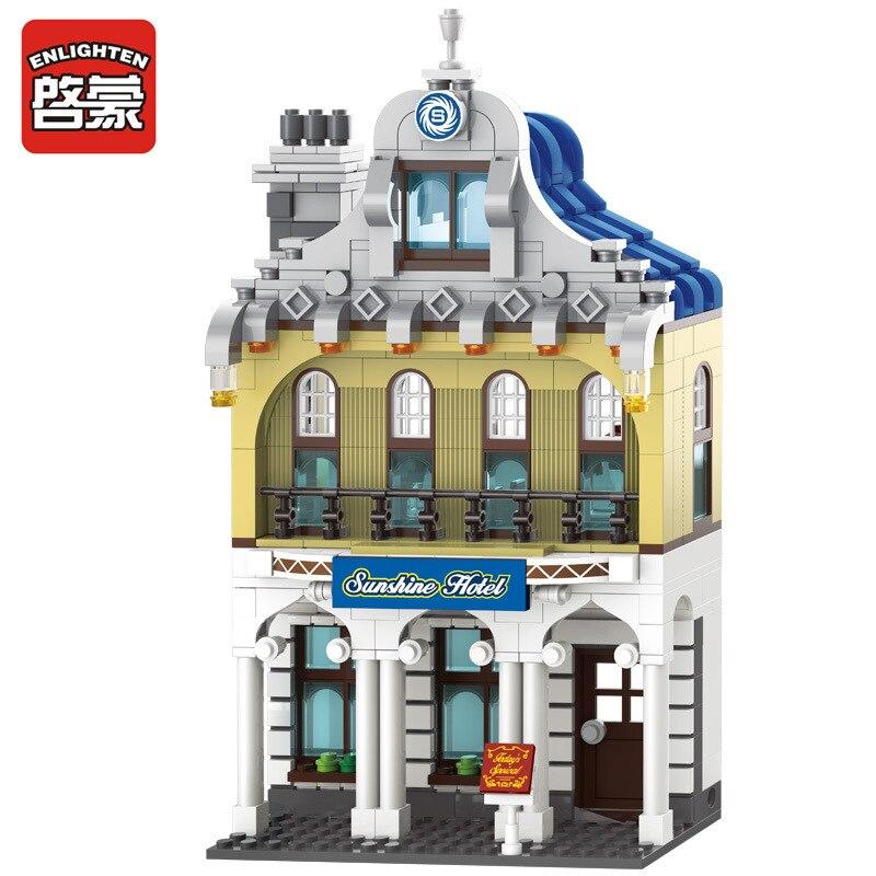 цена на Enlighten 1127 City series Sunshine Hotel model building blocks 455pcs bricks assembling toys 3D Construction gift for children