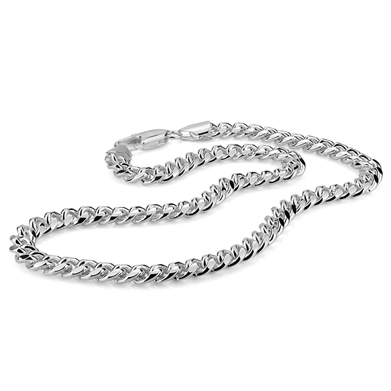 цена на 100% sterling silver men's necklace punk style 7.5mm 51cm whip chain necklace Fashion cool men / boy 925 silver jewelry pendant