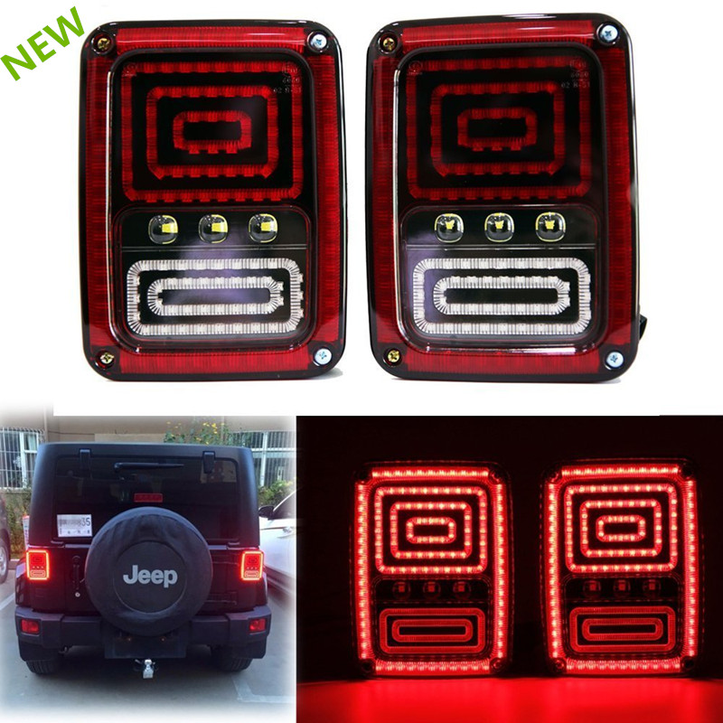 For 07-15 Jeep Wrangler JK CJ LED Rear Tail Light Brake Signal Reverse fog lamp 12V LED Running lights qmn women genuine leather platform flats women cow leather oxfords retro square toe brogue shoes woman leather flats creepers