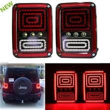 For 07-15 Jeep Wrangler JK CJ LED Rear Tail Light Brake Signal Reverse fog lamp 12V LED Running lights