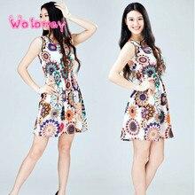 Women O neck Waist Summer Sleeveless Sunflower Print Dress Lady Casual Beach Mini Dress Dresses For Female vestir robe#20