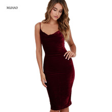 MUHAO sexy Hip strap bodycon club plus size dress women summer Solid color Low-cut V-neck dress dresses women party night club