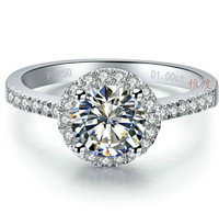 Free Shipping Luxury Jewelry 18K Gold Plated 2 Carat SONA Simulated Diamond Halo Engagement Rings For