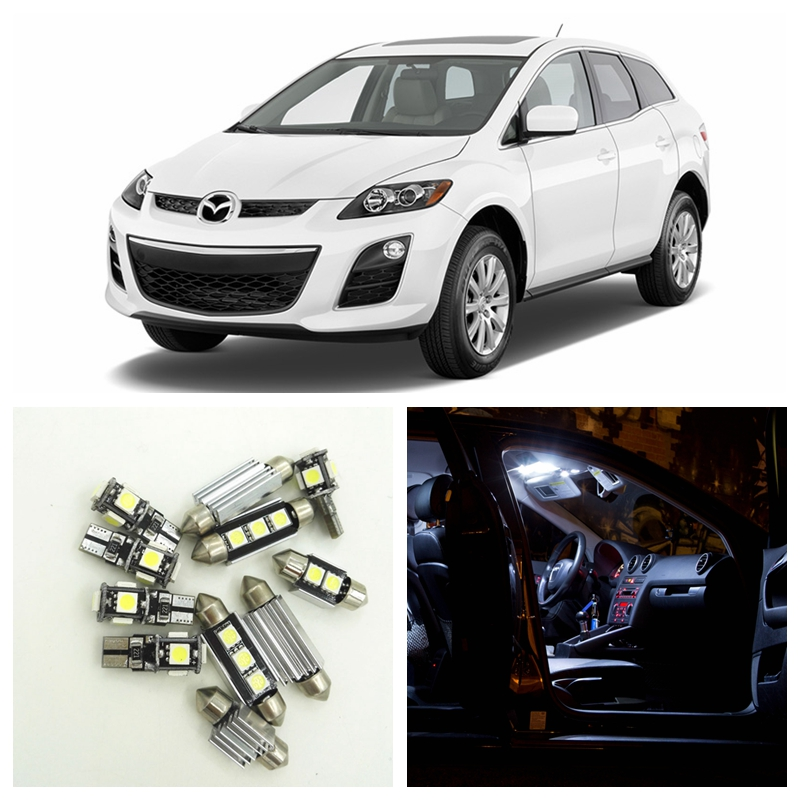 12pcs Super Bright White LED Light Bulbs Interior Package Kit For 2007-2012 Mazda CX-7 CX7 Map Dome Trunk License Plate Lamp 14pcs error free white canbus car led light bulbs interior package kit for 2002 2007 volvo v70 estate xc70 map dome trunk lamp