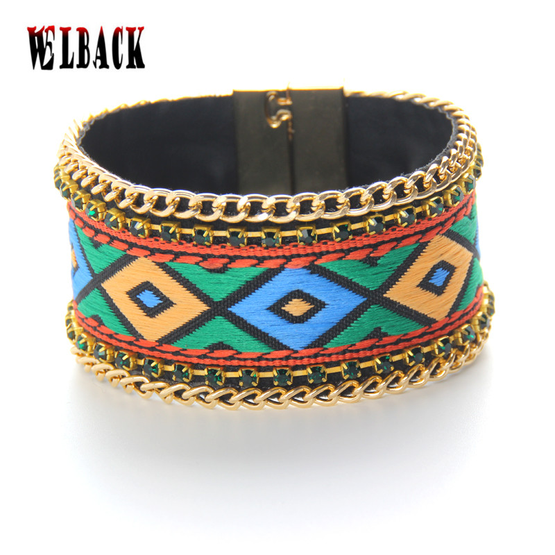 2016 New arrival Bohemia colorful suqre patterns leather bracelets Magnetic Clasp witch crystal chain woman bangles
