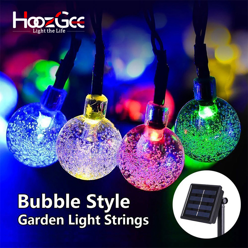 HoozGee Solar Lighting String Outdoor Garden Lights Multicolor 30 LED Crystal Ball Christmas Trees Party Decor