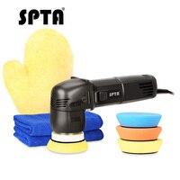 SPTA 3 Inch Mini 10mm dual action polisher DA Car Polisher Auto Polishing Machine Waxing Buffing Pads Glove Set For Auto Polish