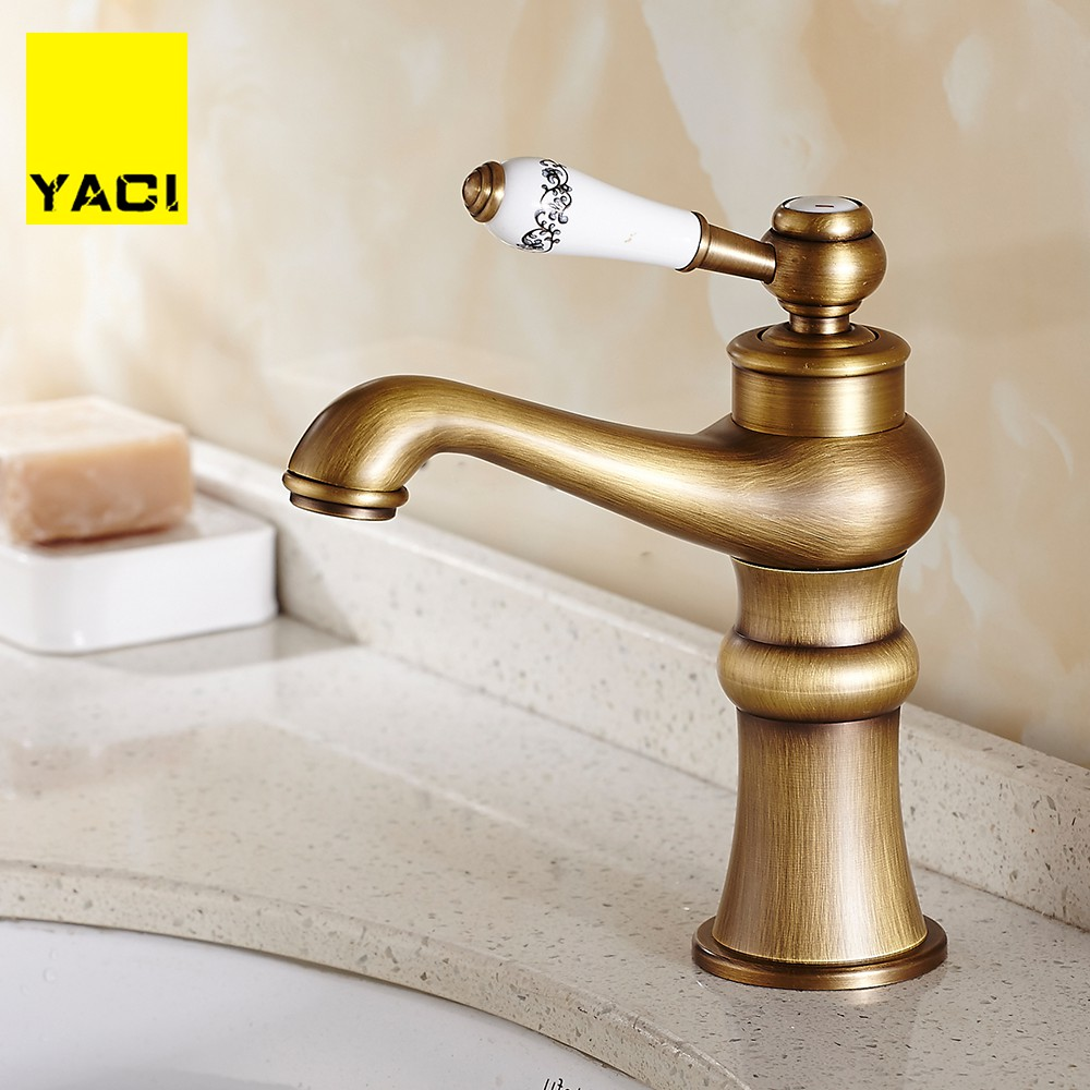 YACI Sink Bathroom Faucet Basin Mixer Tap Antique Brass Ceramics Deck Mounted Retro Porcelain Handle FaucetsYACI Sink Bathroom Faucet Basin Mixer Tap Antique Brass Ceramics Deck Mounted Retro Porcelain Handle Faucets