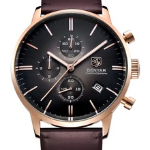 BENYAR 2017 New Fashion Luxury Brand Men's Leather Watches Business Quartz Stainless Steel Case Waterproof Watch erkek kol saati