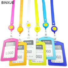 BINXUE Cover card,Can hang, you can clip ID Holder,employees card identification tag,  staff vertical badge Stude