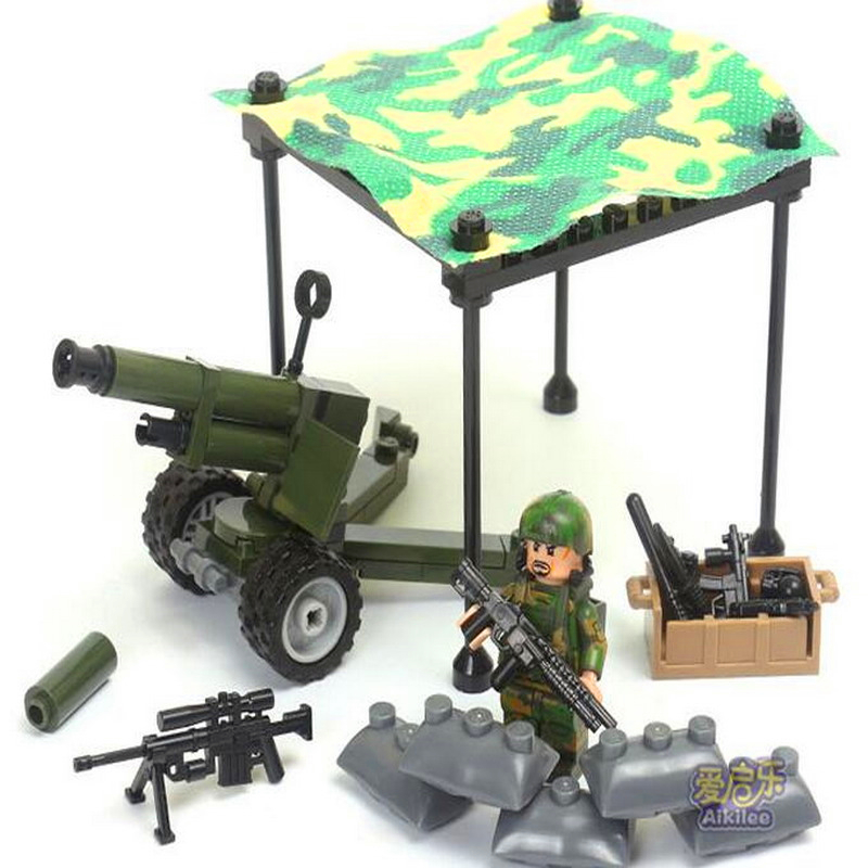 Image 3 - GUDI 8009 4 In 1 Military Firewar UAV Boat Outpos Soldier Lookout Dog Building Blocks Brick Set Compatible Playmobil Toys-in Blocks from Toys & Hobbies