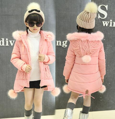 girls winter jackets thickening cotton-padded children girl kids clothes coats parka fashion hooded warm outerwear