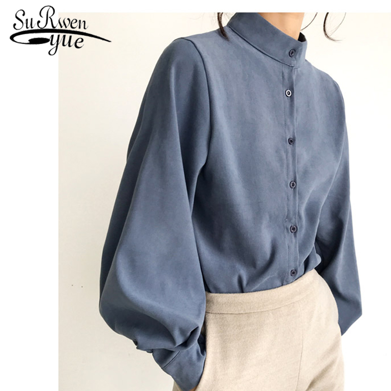 womens tops and   blouses   Fashion women   blouse     shirt   lantern long sleeve women   shirts   solid stand collar office   blouse   2516 50
