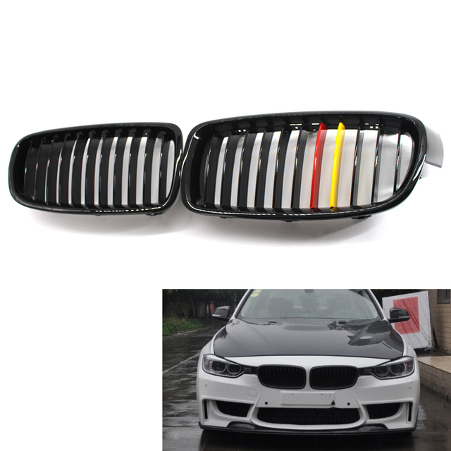 Gloss Black Red Yellow Front Kidney Grille For Bmw F30 F31 Sedan