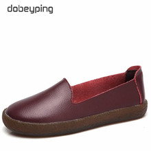 dobeyping New Autumn Shoes Woman Real Cow Leather Flats Women Slip On Womens Loafers Solid Female Shoe Ladies Sneakers