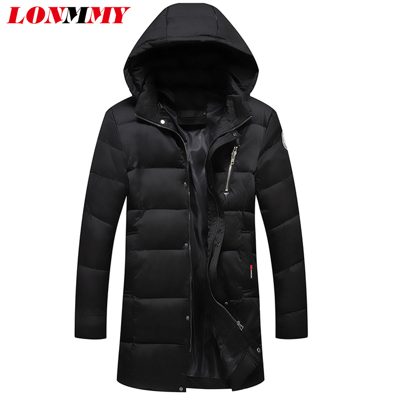 LONMMY Parka men winter jacket Long Hooded Thicken mens