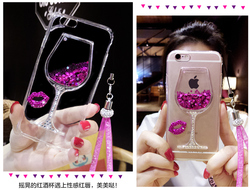 sFor iPhone XS Case iPhone 6 7 8 Plus 3D Liquid Quicksand Bling Rhinestone Wine Glass Pattern Phone Case for iPhone X XS Max XR 8