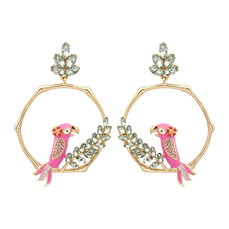 2018 Pink Parrot Crystal  Inlay Leaves Hexagon Geometry Earring Luxury Female Gold Sterling Silver Needle Women Jewellery Brinco2018 Pink Parrot Crystal  Inlay Leaves Hexagon Geometry Earring Luxury Female Gold Sterling Silver Needle Women Jewellery Brinco