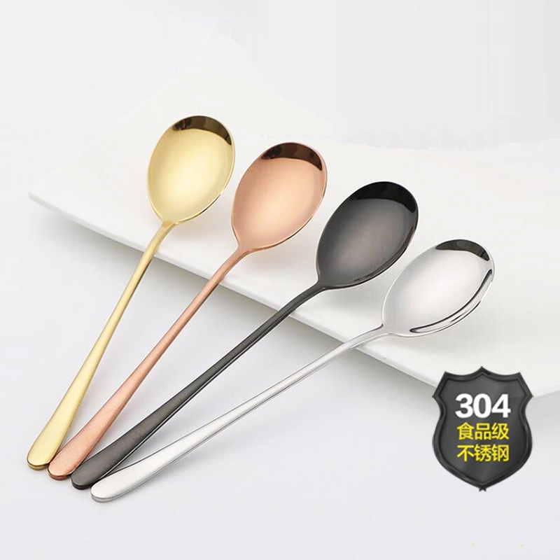 4color/lot Stainless Steel Colourful Spoon Korea Dark Black Soup Spoons Long Handle Gold Spoon Set for Ice Cream gold tableware