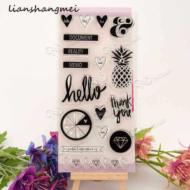 Hello/THANK YOU Transparent Clear Silicone Stamp/Seal for DIY scrapbooking/photo album Decorative clear stamp sheets lovely elements transparent clear silicone stamp seal for diy scrapbooking photo album decorative clear stamp sheets