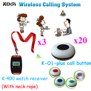 Number Paging System Hotel Sell Wireless Calling Pager With CE Passed Restaurant Equipment (3pcs watch+20pcs call button