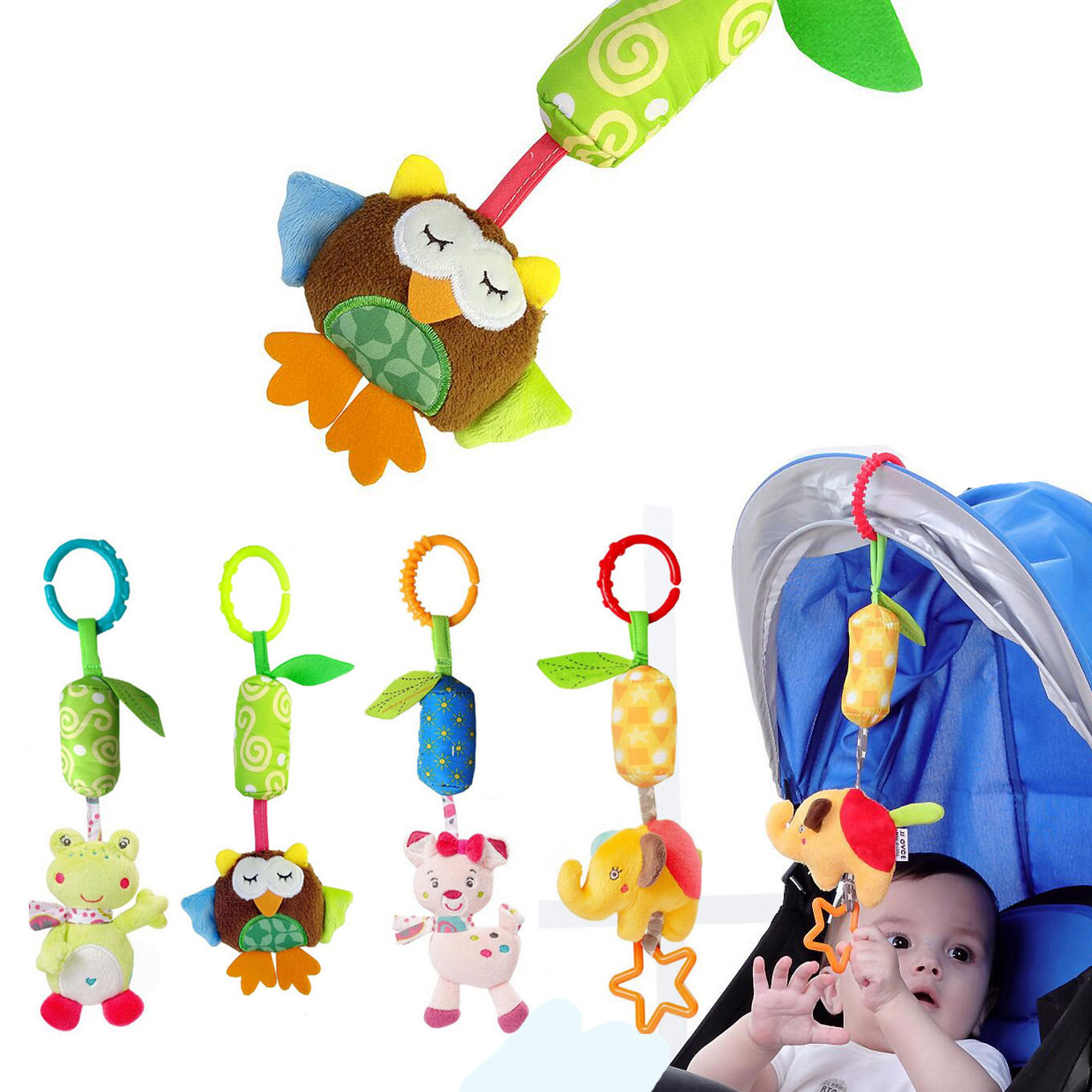 Baby Toys Animal Elephant Rabbit Owl Frog Soft Rattles Bed Crib Stroller Music Hanging Bell Kids Stuffed Toys I0043