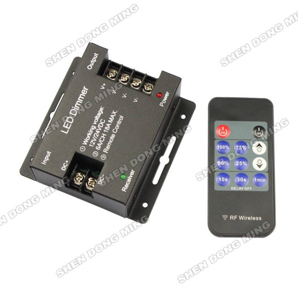 Iron shell <font><b>LED</b></font> Single Color <font><b>Dimmer</b></font> <font><b>LED</b></font> Wireless Controller 18A 432W DC12V-24V RF 11key <font><b>Remote</b></font> For <font><b>LED</b></font> Single Color <font><b>Strip</b></font> image